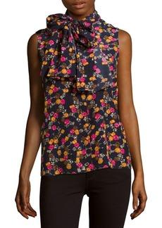 Victoria Beckham Sleeveless Printed Silk Top
