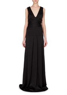 Victoria Beckham Sleeveless Seamed-Waist A-Line Gown