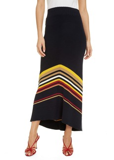 Victoria Beckham Stripe Hem Maxi Sweater Skirt
