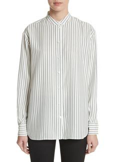 Victoria Beckham Stripe Silk Granddad Shirt