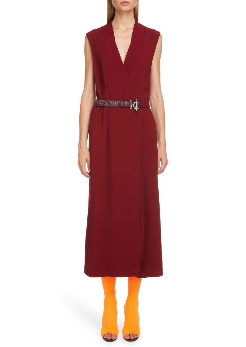 Victoria Beckham Surplice Midi Dress with Leather Belt