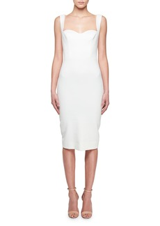 Victoria Beckham Sweetheart-Neck Sleeveless Fitted Dress with Tonal Sequins