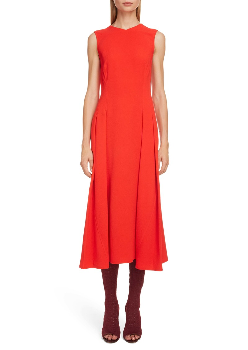 Victoria Beckham Textured Pleated Midi Dress