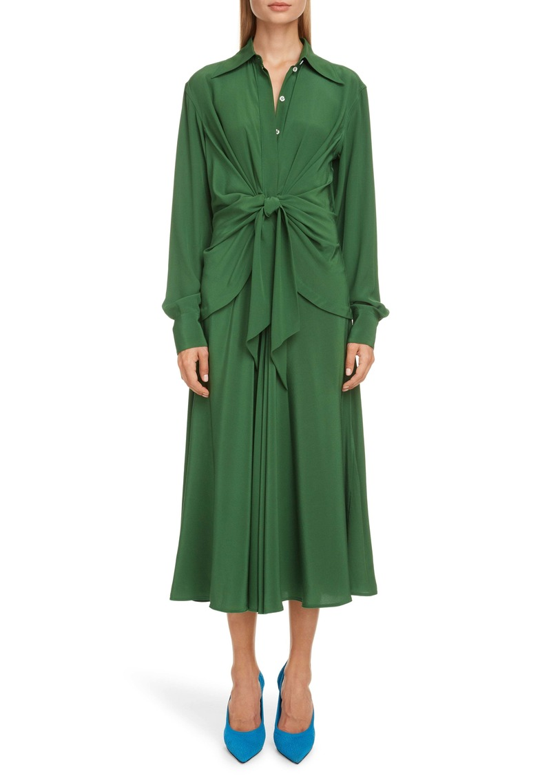 Victoria Beckham Tie Waist Long Sleeve Silk Crêpe de Chine Midi Shirtdress