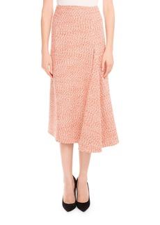 Victoria Beckham Tweed Side-Drape Midi Skirt