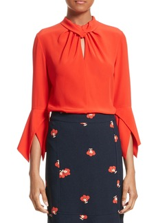 Victoria Beckham Twisted Silk Bell Sleeve Blouse