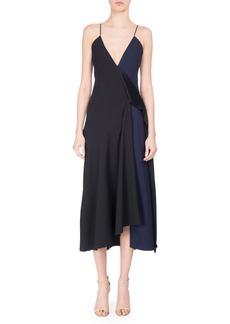 Victoria Beckham V-Neck Two-Tone Bias-Cut Midi Dress