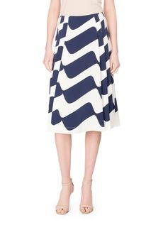 Victoria Beckham Wave-Print Pleated Midi Skirt