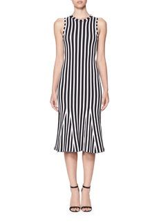 Victoria Beckham Wide-Stripe Intarsia Kick-Flare Dress