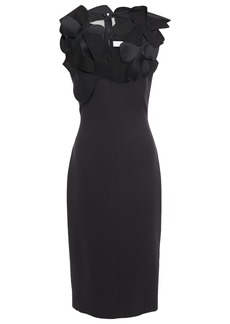 Victoria Beckham Woman Appliquéd Chiffon-paneled Silk And Wool-blend Dress Black