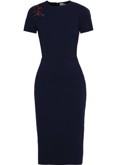 Victoria Beckham Woman Appliquéd Cotton-blend Cady Dress Navy