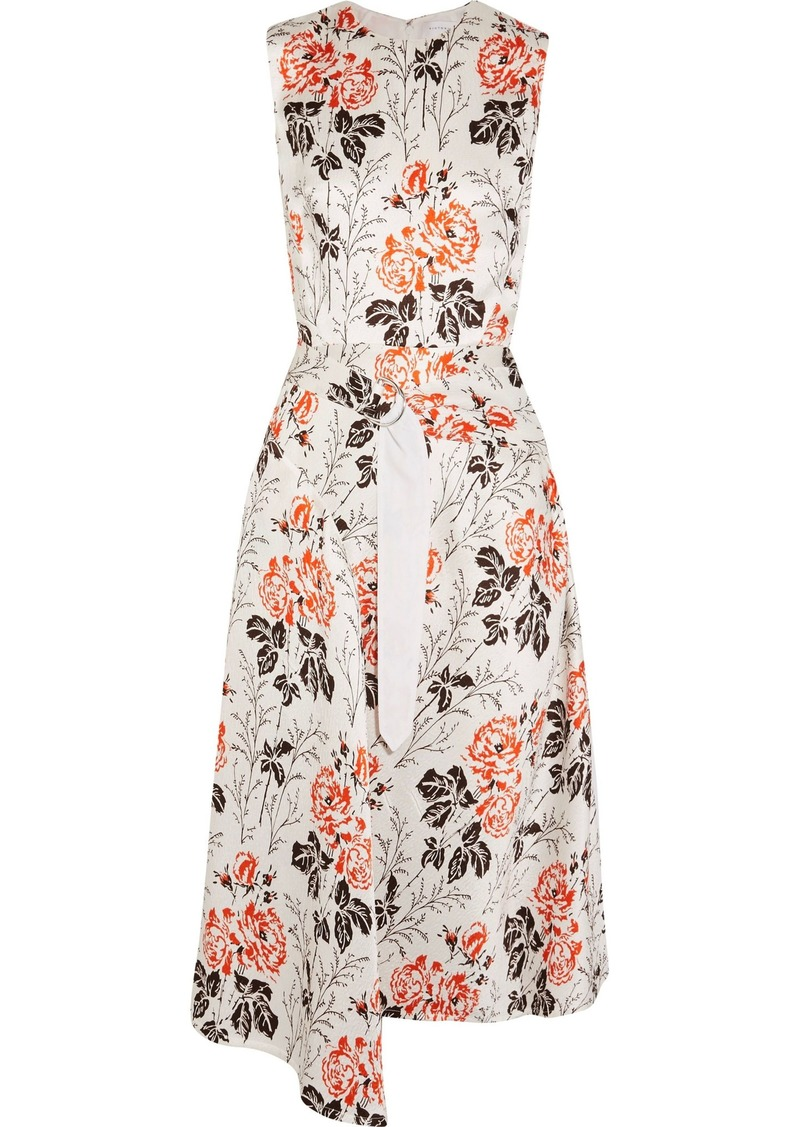 Victoria Beckham Woman Asymmetric Belted Floral-print Cloqué Midi Dress White