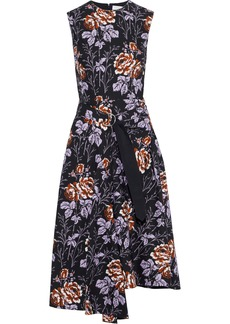 Victoria Beckham Woman Asymmetric Buckled Floral-print Cotton-poplin Midi Dress Black