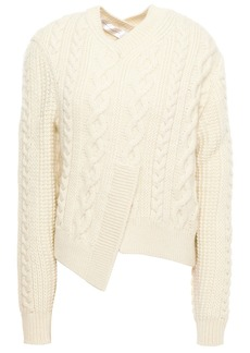 Victoria Beckham Woman Asymmetric Cable-knit Wool Sweater White