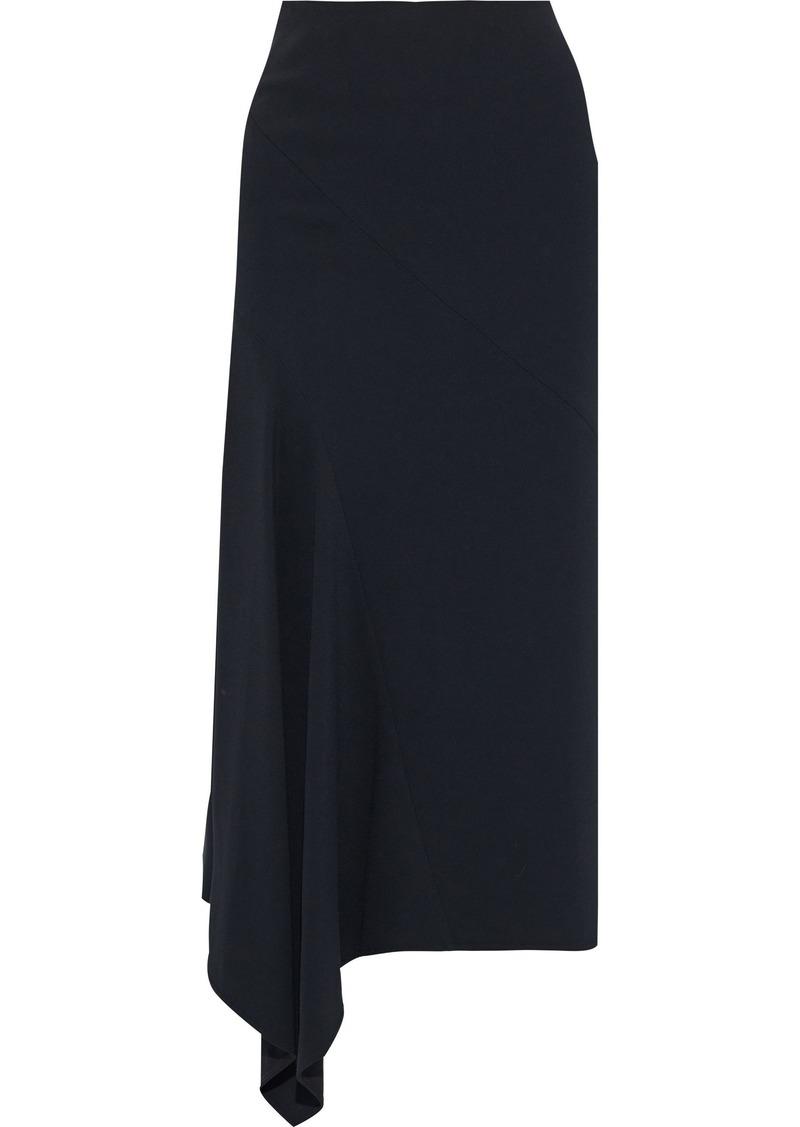 Victoria Beckham Woman Asymmetric Cady Midi Skirt Black
