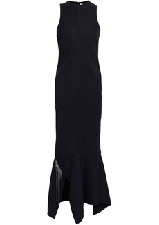 Victoria Beckham Woman Asymmetric Crystal-embellished Twill Midi Dress Midnight Blue