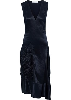 Victoria Beckham Woman Asymmetric Draped Satin Midi Dress Midnight Blue