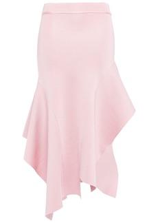Victoria Beckham Woman Asymmetric Flared Stretch-knit Skirt Baby Pink