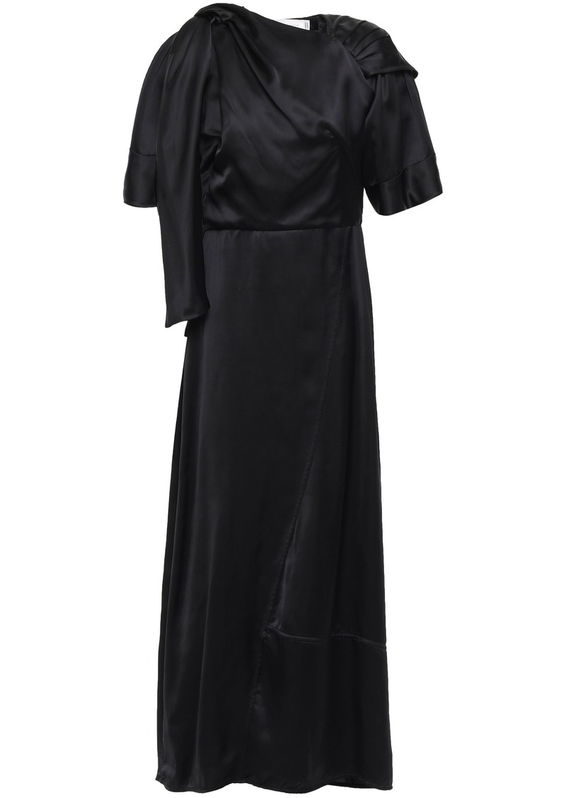 Victoria Beckham Woman Asymmetric Gathered Draped Satin Maxi Dress Black