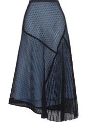 Victoria Beckham Woman Asymmetric Layered Guipure Lace And Silk-charmeuse Midi Skirt Black