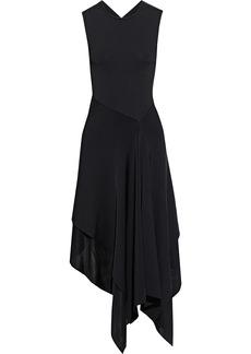 Victoria Beckham Woman Asymmetric Layered Stretch-knit Midi Dress Black