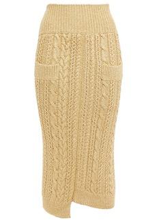 Victoria Beckham Woman Asymmetric Metallic Cable-knit Midi Pencil Skirt Gold