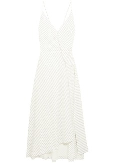 Victoria Beckham Woman Asymmetric Pinstriped Silk Crepe De Chine Midi Dress White