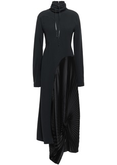 Victoria Beckham Woman Asymmetric Pleated Crepe And Satin Maxi Dress Black