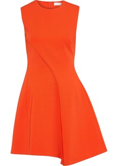 Victoria Beckham Woman Asymmetric Pleated Ponte Mini Dress Bright Orange