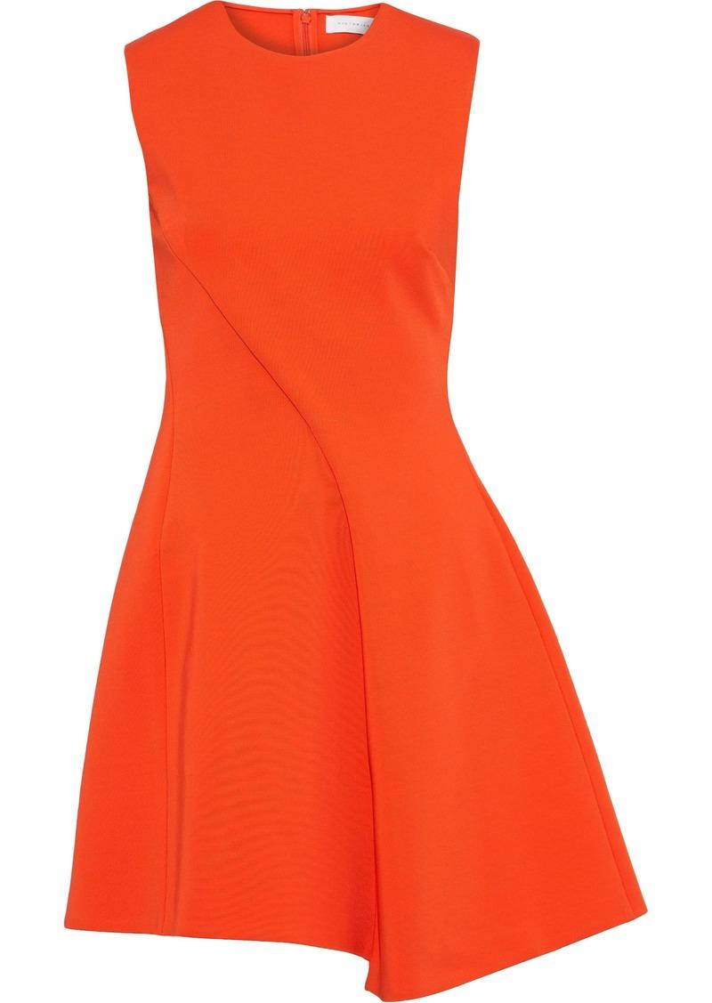 Victoria Beckham Woman Asymmetric Pleated Ponte Mini Dress Bright Orange
