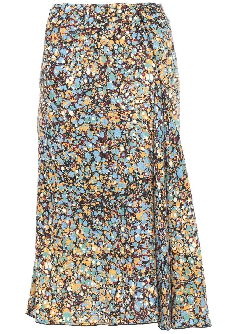 Victoria Beckham Woman Asymmetric Pleated Printed Crepe Skirt Light Blue
