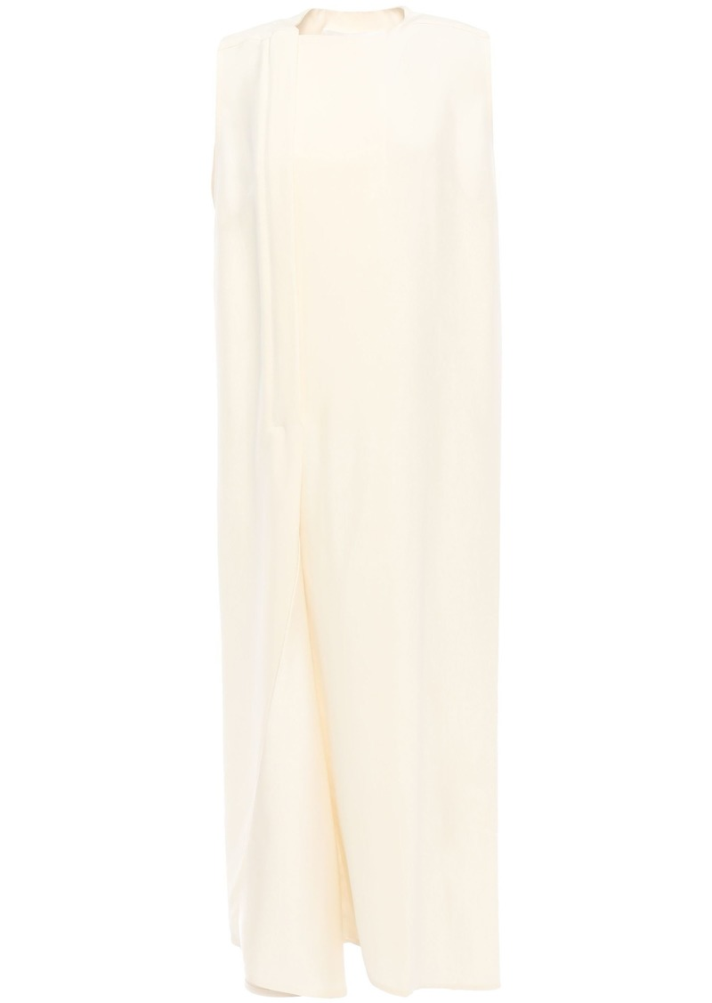 Victoria Beckham Woman Asymmetric Pleated Satin-paneled Silk-blend Dress Ivory