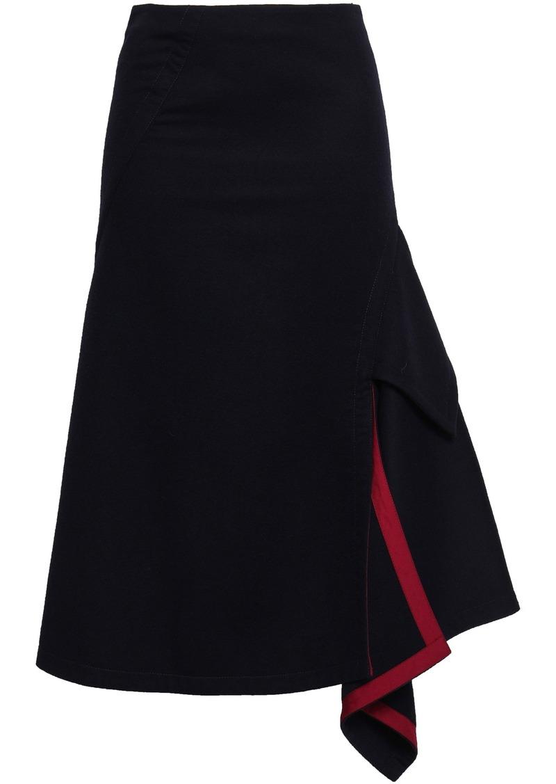 Victoria Beckham Woman Asymmetric Pleated Wool-felt Skirt Navy