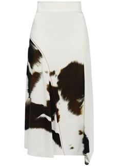 Victoria Beckham Woman Asymmetric Printed Crepe Midi Skirt White