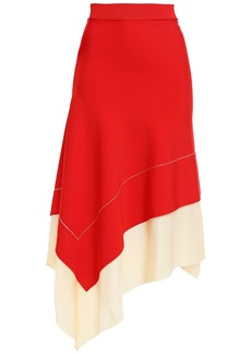 Victoria Beckham Woman Asymmetric Two-tone Knitted Skirt Red