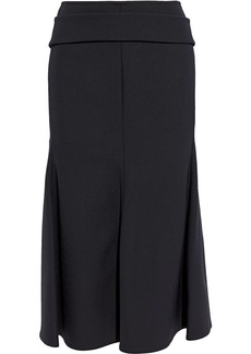 Victoria Beckham Woman Belted Chain-detailed Crepe Midi Skirt Black