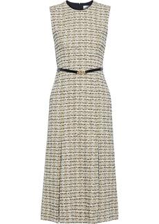Victoria Beckham Woman Belted Cotton-blend Tweed Midi Dress Beige