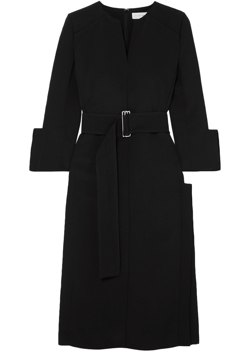 Victoria Beckham Woman Belted Crepe Midi Dress Black