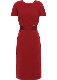 Victoria Beckham Woman Belted Cutout Bonded Crepe Dress Crimson