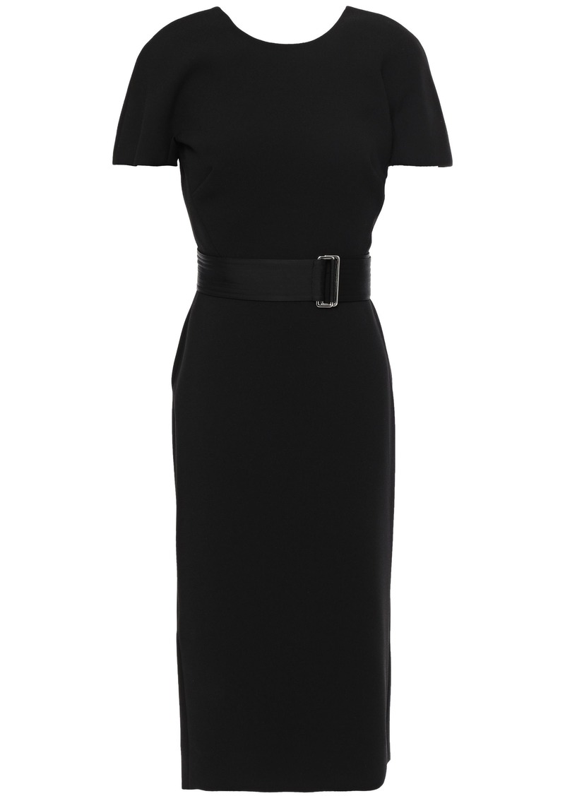 Victoria Beckham Woman Belted Cutout Crepe Dress Black