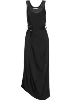 Victoria Beckham Woman Belted Leather-trimmed Satin Midi Dress Black