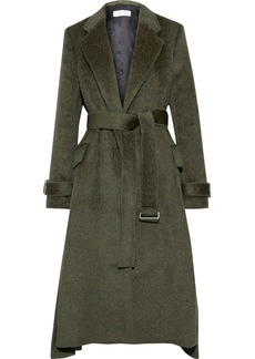 Victoria Beckham Woman Belted Pleated Wool And Alpaca-blend Coat Army Green