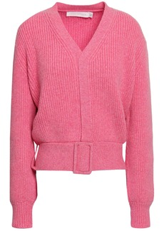 Victoria Beckham Woman Belted Ribbed Wool Cardigan Pink