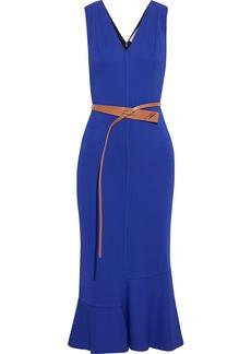 Victoria Beckham Woman Belted Fluted Cady Midi Dress Cobalt Blue