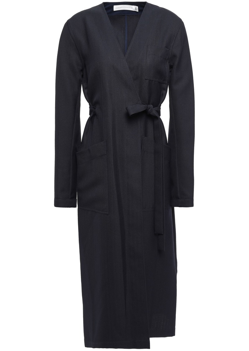 Victoria Beckham Woman Grain De Poudre Coat Navy