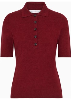 Victoria Beckham Woman Brushed Stretch-knit Polo Shirt Burgundy