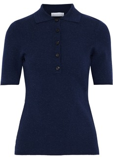 Victoria Beckham Woman Brushed Stretch-knit Polo Shirt Navy