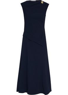 Victoria Beckham Woman Button-embellished Cady Midi Dress Midnight Blue