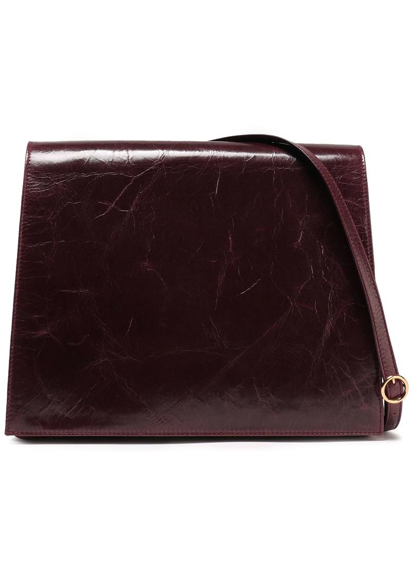 Victoria Beckham Woman Cahier Cracked-leather Shoulder Bag Merlot
