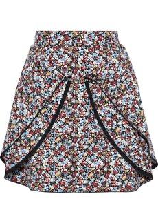 Victoria Beckham Woman Chain-trimmed Draped Floral-print Crepe Mini Skirt Black